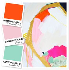 Add some bright summer colors to your home or wardrobe! This orange, pink and mint color palette is so much fun!