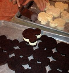 A close up of the pieces of Mickey Mouse shaped ice cream sandwiches - DIY for the party instead of cupcakes!