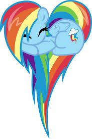 Cute little Rainbow Dash sleeping with her long tail and mane shaped to a Heart.