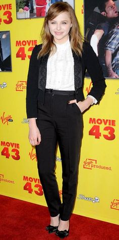 JANUARY 24, 2013 Chloe Moretz WHAT SHE WORE Moretz screened Movie 43 in head-to-toe Dolce & Gabbana, including the label's slim suit and satin pumps.