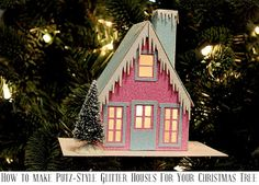 How to Make Putz-Style Glitter House Ornaments with your Silhouette! Also known as sugar houses, or light house ornaments...whatever you call them...this tutorial will show you how to make them yourself!