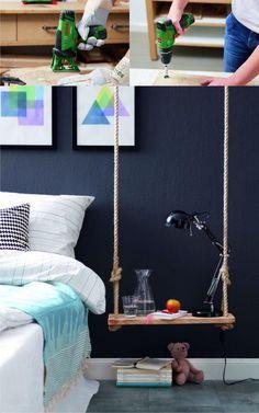 Mesa Colgante  - homestory.rp-online.de - DIY Hanging Bedside Table