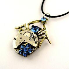 Spider pendant - vintage steampunk watch spider pendant