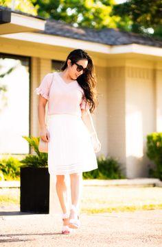 cute & little   petite fashion blog   pink seersucker ruffle sleeve top, white eyelet skirt, pom pom pink heel sandals, chloe drew dupe, rocksbox kendra scott alex earrings   summer outfit