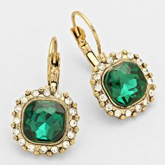 Gold and Green Rhinestone Cocktail Earrings