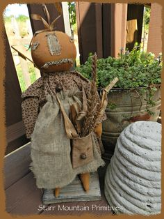 Primitive Standing Pumpkin Head Doll https://www.facebook.com/pages/Starr-Mountain-Primitives/228548684018?pnref=lhc