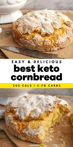 Top Keto Cornbread Recipe - The smell of homemade cornbread will fill your kitchen, there's only one bowl and one baking pan needed making the clean-up a breeze and there's no kneading required, making this the most effortless keto bread recipe ever!