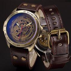 Đồng hồ cơ khí men skeleton automatic steampunk đồng hồ antique bronze da retro dropshipping đồng hồ đeo tay 2017 nóng bán