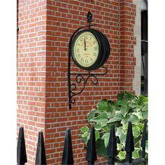 dual faced victorian garden clock train station bracket