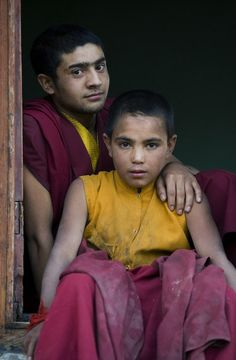 Monks in Ladakh, India.  In the heart of the Himalayas, with it's own culture, but looks to Tibet for spiritual guidance.