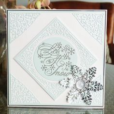 Home of Tattered Lace Dies Xmas Cards, Greeting Cards, Christmas Tag, Christmas Trees, Tattered Lace Cards, Arts And Crafts, Paper Crafts, Embossed Cards, Die Cut Cards