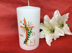Beautiful Easter candle, table candle by Imperiale troupe donates of the proceeds … - Dekoration Ideen Diy Candles, Pillar Candles, Diy And Crafts, Crafts For Kids, Baptism Candle, Easter Lamb, Easter Cross, Palm Sunday, Homemade Gifts