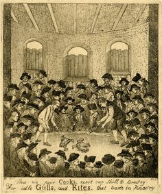 Two cocks fight in a cock-pit, a man standing over each cock; the spectators are in a circle several rows deep. The wall of the room is of stone, with three boarded-up windows; it is the unfinished kitchen of the Edinburgh Assembly Rooms. The heads are on a small scale and crowded together, but several are portraits, one being Deacon Brodie. Beneath the design is etched: 'Thus we poor Cocks, exert our Skill & Brav'ry For idle Gulls, and Kites, that trade in Knav'ry' 1785 Etching