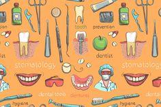 Dental seamless pattern.  by Netkoff on Creative Market