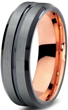 Tungsten Wedding Band Ring 6mm for Men Women Black
