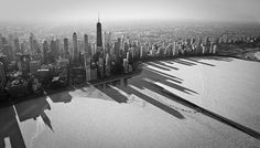 Chicago skyline shadow over the frozen snow covered lake.