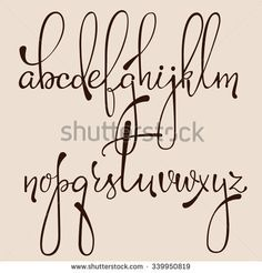 Handwritten pointed pen ink style decorative calligraphy cursive font. Calligraphy alphabet. Cute calligraphy letters. Isolated letter elements. Typography, decorative graphic design.