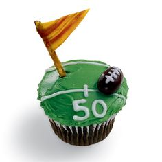Football Cupcake--haven't made these yet, but would be fun for the tailgate Teacher Appreciation Lunch. The football is a chocolate-covered almond. The flag is a pretzel stick and fruit leather.