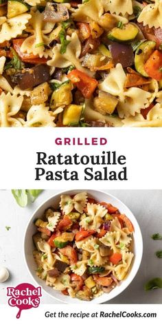 Looking for a flavorful side dish? This Grilled Ratatouille Pasta Salad is perfect! It's made with ripe summer vegetables, like juicy tomatoes, eggplant, tender zucchini squash, sweet red onions, and crisp bell pepper. Then, it's tossed with an easy homemade vinaigrette, and combined with al dente pasta for a tasty pasta salad. Great for serving at summer barbecues, picnics and potlucks. Everyone will love this pasta salad! Barbecues, Potlucks, Grilled Tomatoes, Grilled Vegetables, Healthy Salad Recipes, Lunch Recipes, Cooking Recipes, Side Dishes, Side Dish Recipes