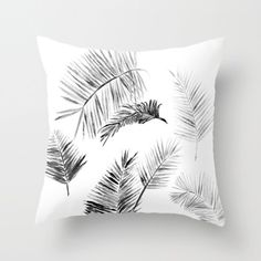 A personal favorite from my Etsy shop https://www.etsy.com/listing/468618224/black-white-palm-leaf-throw-pillow-cover