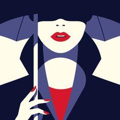 Fashion art, woman under an umbrella by Malika Favre