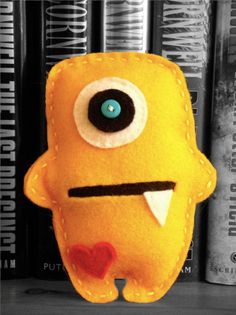 yellow felt monster height 4.5""