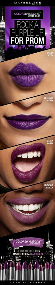 Want to rock purple lipstick with your prom dress?  The Maybelline Loaded Bolds collection is sure to have the perfect purple lip for you!  Hypercolor pigments and an opaque, creamy clay base deliver one-stroke intensity. Sumptuous honey nectar leaves a creamy finish. Get all the pigment you want for your prom lipstick look with the comfortable wear you wish for this prom season!