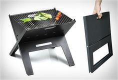 Notebook Grill portable charcoal grill for the beach, picnics, camping Weber Charcoal Grill, Portable Charcoal Grill, Charcoal Bbq, Barbecue Grill, Barbecue Design, Char Grill, Materiel Camping, Survival Tips, Bbq Grill