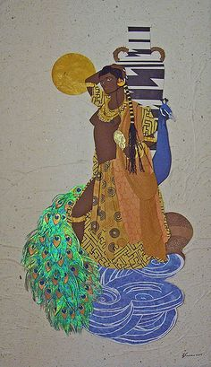 Oshun in Yoruban mythology is the goddess of love, sensuality, beauty and wealth. Some of symbols are the peacock, and flowing water.