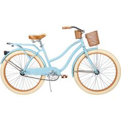 """26"""" Huffy Nel Lusso Women's Cruiser Bike: Rear rack Handlebar basket Front beverage holder Steel cruiser frame in light blue Single-speed gear Easy-to-use coaster brakes 26"""" x 2.35"""" creme cruiser tires Alloy rims for all-weather performance Classic fenders help keep the rider dry Cruiser handlebar with dual-density grips for improved handling Padded spring bike saddle seat with embroidery Quick-release seat binder for easy adjustments Comfortable all-wear pedals Weight limit: 200 lbs…"""