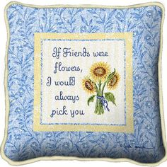 Friends With Flowers Tapestry Pillow