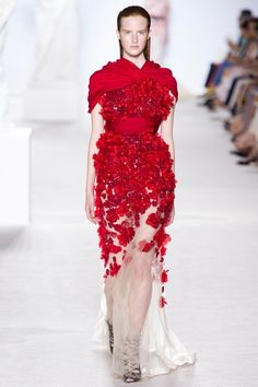 Giambattista Valli Fall 2013 Couture Wedding-Worthy Red Porcelain-Inspired Gown