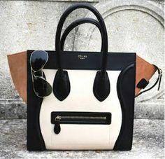 Celine Luggage Handbag Small 26CM Multicolour in Black Tan Cream