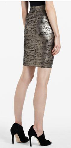foil print power skirt- BCBG