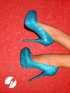 Blue and sparkly shoes :D