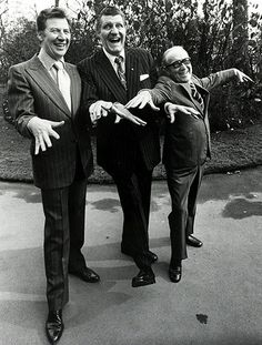 Max Bygraves pictured at a Variety Club of Great Britain luncheon with Tommy Cooper and Arthur Askey