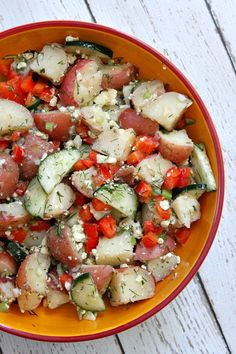 Dill Potato Salad with Feta:  a Greek-style, no mayo potato salad #recipe.  Delicious!
