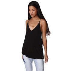Black layered top with V neck and chain detail