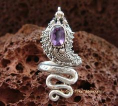 Adjustable Size Sterling Silver Gothic Amethyst Snake Ring - Bali Jewelry RI-252-DG by DGSilverJewelry on Etsy https://www.etsy.com/listing/224769198/adjustable-size-sterling-silver-gothic
