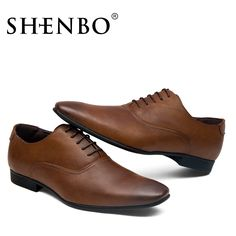 Shenbo Clic Brown Men Oxford High Quality Shoes For Casual Dress Simple Wedding