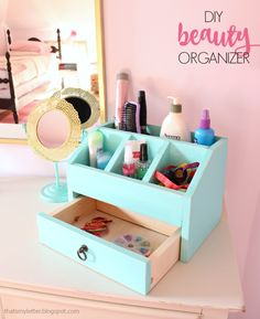 DIY Beauty Organizer via That's My Letter - what a great scrap wood project!