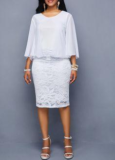 de469d8fcb Three Quarter Sleeve Lace Panel White Dress