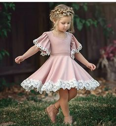 Buy Fashion Kids Baby Girl Dress Lace Floral Party Dress Pageant Bridesmaid Dress at Wish - Shopping Made Fun Dress First, The Dress, Pink Dress, Dress Lace, Pink Flower Girl Dresses, Lace Flower Girls, Gown Dress, Robe Fuchsia, Dress Outfits
