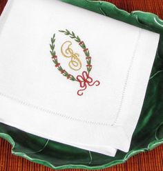 Claire Holiday Monogrammed Napkins. A favorite year after year and make a wonderful gift! http://bellalino.com/Luxury%20Table%20Linens/holiday-table-linens.htm
