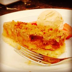 Homemade Apple Cake with Vanilla Ice Cream
