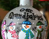 Hand Painted Christmas Ornament - Snow People. $10.00, via Etsy.
