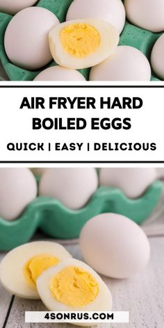 Air fryer hard boiled eggs are an easy way to make this staple recipe. There's no boiling water and you get perfectly cooked eggs, each and every time! #snack #boiledegg #airfrier #recipe