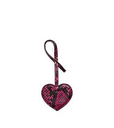 Large Heart Embossed-Leather Keychain  by Michael Kors