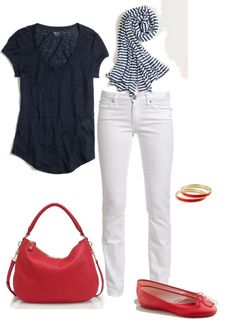 """Navy, Red Poppy & White"" by justvisiting on Polyvore"