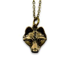 Little Wolf Face Necklace gold, jewelry, necklaces